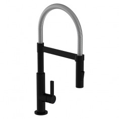 Кухненски смесител - черен мат, подвижен душ за съдове с 2 струи