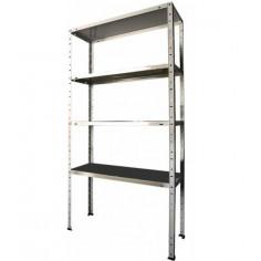 Метален стелаж - 30x75x147 см, поцинкован, 4 рафта