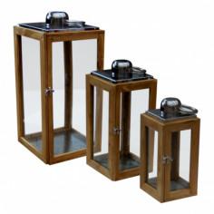 Декоративен фенер - 18,5x18,5x43 см, дървен