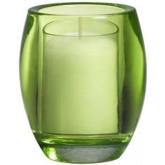 Свещник - Ø8,4 см, височина 10 см, овален, стъкло