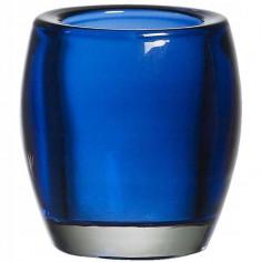 Свещник - Ø7,2 см, височина 7,7 см, овален, стъкло