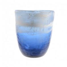 Свещник - 15х17,5 см, стъклен, син