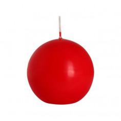 Декоративна свещ, сфера, червена, Ø8 см -