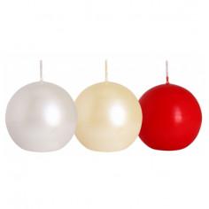 Декоративна свещ, сфера, бяла, Ø8 см -