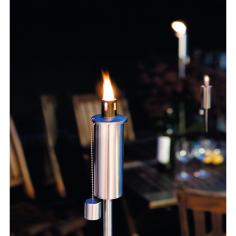 Градинска факла, стомана - 115 см, Ø5 см, сребриста