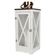 Декоративен фенер - 17х17х40 см, бял
