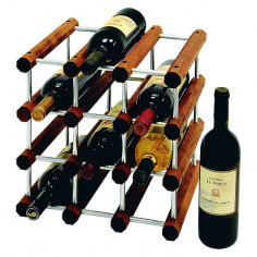 Стелаж за вино - 28х34х34 см, дърво и алуминий