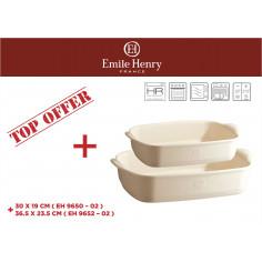 """Комплект от 2 броя керамични форми за печене """"RECTANGULAR OVEN DISH """"- цвят екрю - emile henry"""