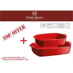 """Комплект от 2 броя керамични форми за печене """"RECTANGULAR OVEN DISH """"- цвят червен - emile henry"""