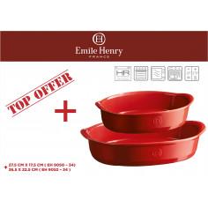 """Imagén: Комплект от 2 броя керамични форми за печене """"OVAL OVEN DISH """" -цвят червен - emile henry"""