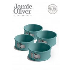 Комплект от 4бр форми с падащо дъно Ø10см - цвят атлантическо зелено - jamie oliver