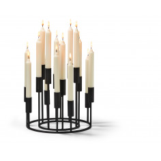 """Свещник от 2 части  """"ILLUMINATI"""" - цвят черен - philippi"""