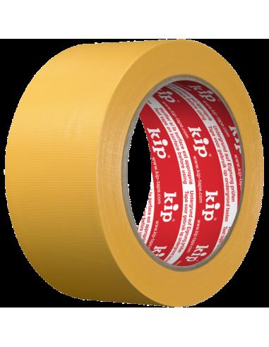 Защитна самозалепваща PVC лента Kip - 33 м, 50 мм, жълта, набраздена