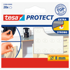 Силиконови буфери Tesa - Ø8 мм, бели, 28 броя