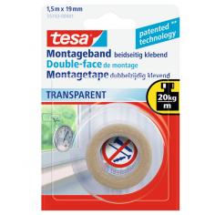 Монтажна лента за огледала Tesa - 1,5 м, 19 мм, прозрачна