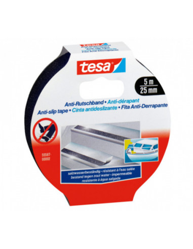 Противоплъзгаща лента Tesa, черна, 25 мм, 5 м