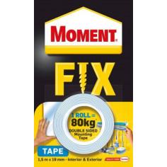 Двойнолепяща монтажна лента/ тиксо Moment Fix, 80 кг, 19 мм, 1,5 м