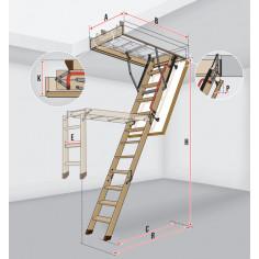Таванскa стълба LWK Komfort - 60 х 94 см,  h 280 см, четири рамена, термоизолиран капак