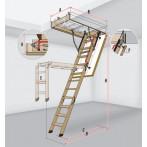 Дървена таванска стълба LWK Komfort - 70 х 94 см, h 280 см, термоизолиран капак