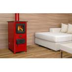 Печка на дърва HAPPY - 6 kW, червена