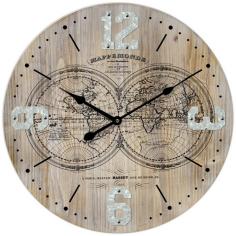 Стенен часовник Глобус - Ø58 см, MDF, бежов