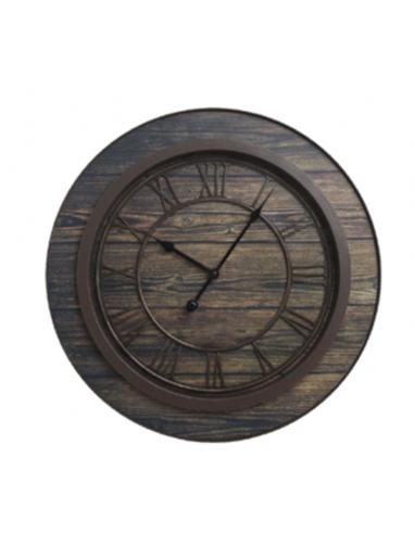 Стенен часовник - Ø50 см, MDF, махагон