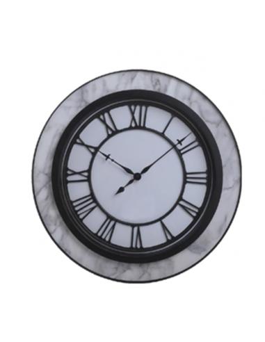 Стенен часовник - Ø50 см, MDF, мрамор