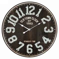 Стенен часовник - Ø58 см, MDF, кафяв