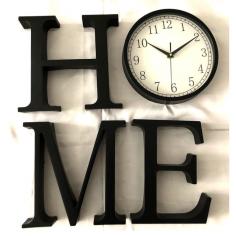 Imagén: Стенен часовник HOME - 26x25x4 см, пластмасов, черен, 4 отделни букви