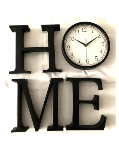 Стенен часовник HOME - 26x25x4 см, пластмасов, черен, 4 отделни букви