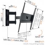 """Стойка за телевизор MA3040 - За екрани 32-55"""", товароносимост 25 кг, черна"""