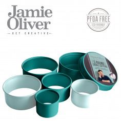 Комплект от 5 бр. кръгли форми за десерти и ястия - цвят атлантическо зелено / светлосиньо