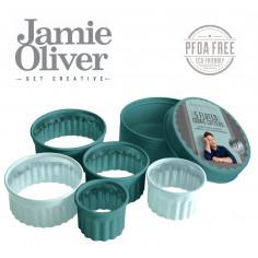 Комплект от 5 броя вълнообразни форми за десерти и ястия - цвят атлантическо зелено / светлосиньо