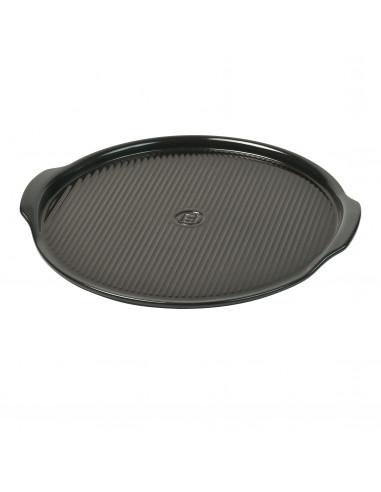 """Керамична плоча за пица """"RIDGED PIZZA STONE"""" - Ø 40 см - цвят черен"""