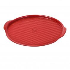 """Imagén: Керамична плоча за пица """"RIDGED PIZZA STONE"""" - Ø 40 см - цвят червен"""