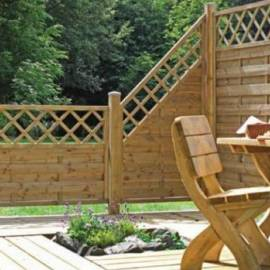 Дървена ограда с решетка 180 x 90 см