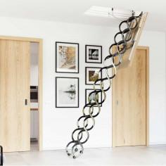 Метална таванска стълба - 70 X 60 см, h-3.2м, тип хармоника, с талашитен капак