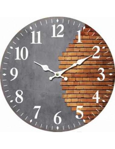Стенен часовник Bricks - Ø34 см, MDF, сив/кафяв