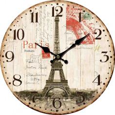 Стенен часовник Tour Eiffel - Ø34 см, MDF, бежов