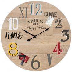Imagén: Стенен часовник Happy Place - Ø34 см, MDF, бежов