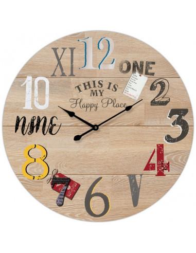 Стенен часовник Happy Place - Ø34 см, MDF, бежов