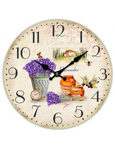 Стенен часовник Lavender - Ø34 см, MDF, бежов