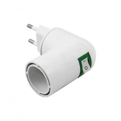 Фасонка с щепсел и превключвател Vivalux Eke - E27, 85x67x41 мм, бяла