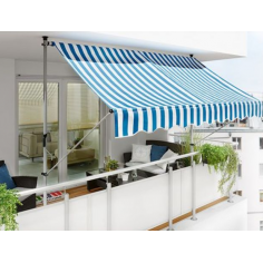 Imagén: Тента с горно и долно закрепване синьо-бяла - 3 x 1,30 м