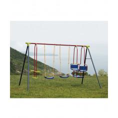Детска комбинирана люлка - 2 сини седалки + скутер + гондола