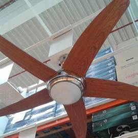 Таванен вентилатор - 5 перки, осветление - 132см, дистанционно, чвят - череша