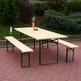 Градинска маса и пейки - дървени - комплект, маса - 220x80 см