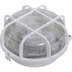 Кръгъл плафон с капак и защитна решетка REV - Макс 100 W, Ø20 см, E27, IP44, пластмасова решетка, бял