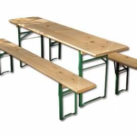 Градинска маса и пейки - дървени - комплект, маса - 220x50 см