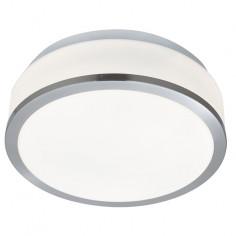Плафон баня Discs - 2х60 W, 2хE27, IP44, Ø23 см, бял опал, сребрист